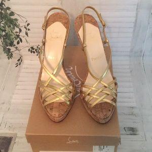 🦋Christian Louboutin Cage Zeppa Gold Cork heels